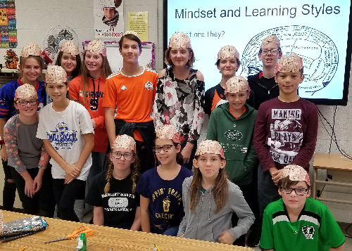 Students wearing their brain hats