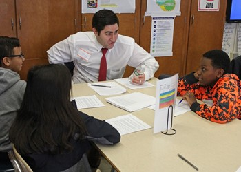 Attorney Josh Kuttner introduces students to a career in law.