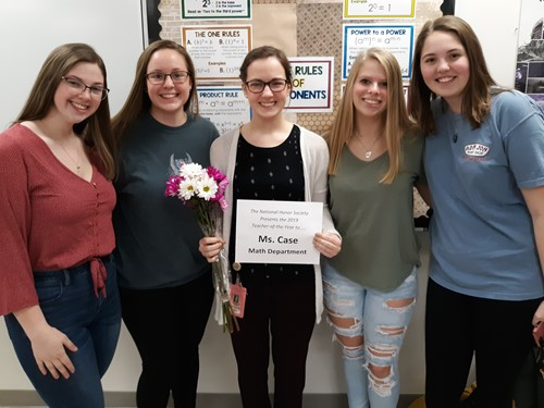 NHS Officers with Ms. Case (l-r) Grace Hunt, Serafina Wezelis, Christian Case, Lilly Gleason and Jenna Guyette.