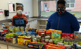 HS students with food donations