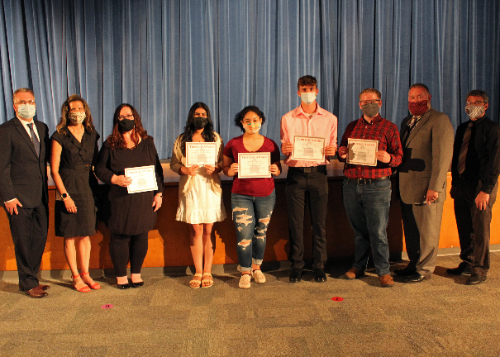 Award winners with administrators from the SHS