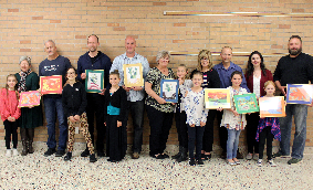 BOE members with student artists