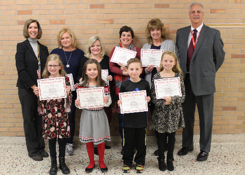 CES Triple C Award winners with principal and assistant principal