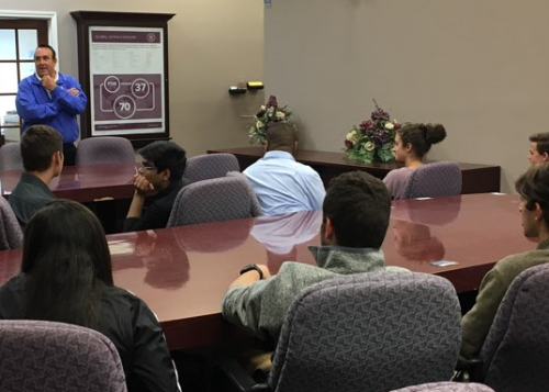 Bill Howard spoke at length to students about real estate and developing a multi-use facility like the Center.