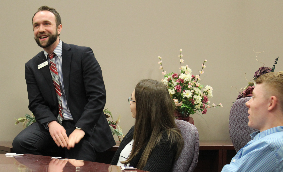 Key Bank manager speaks with students