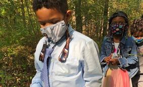 First-graders hiking at the Nature Center