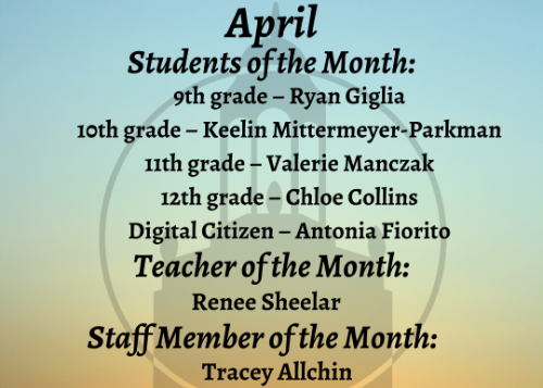 April Students of the Month graphic