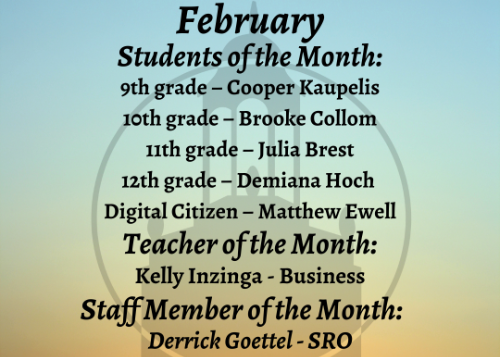 February Students of the Month graphic