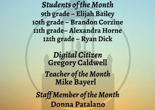 January Students of the Month graphic