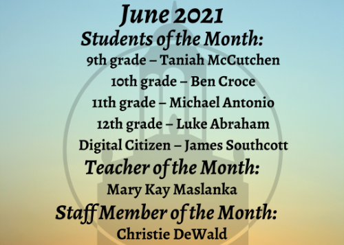 June Students of the Month graphic