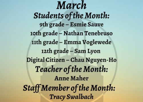 March students of the month graphic