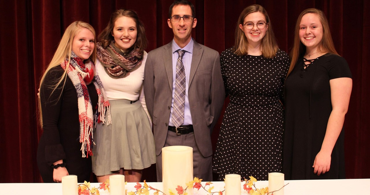 National Honor Society officers for 2018 with NHS Advisor Mr. Glor.