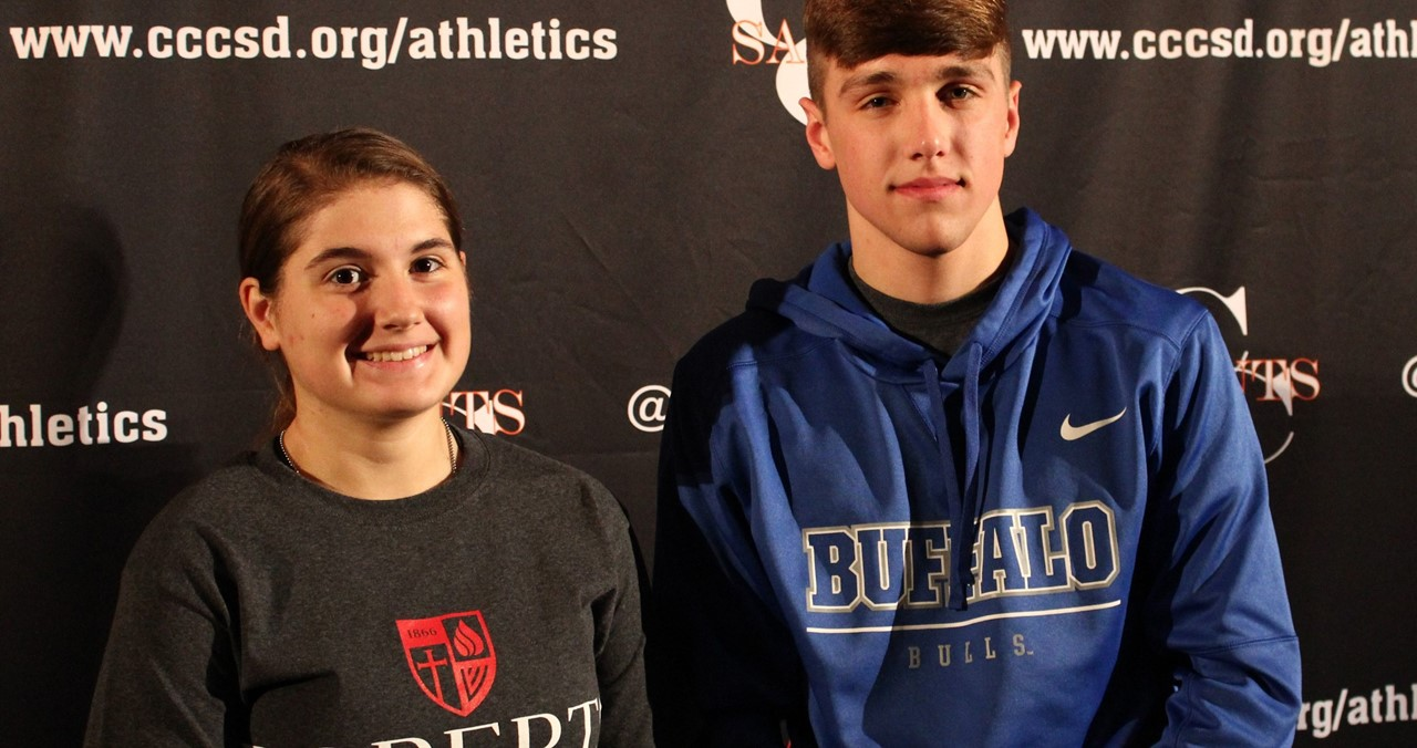 Two CC High School athletes celebrate signing with colleges.