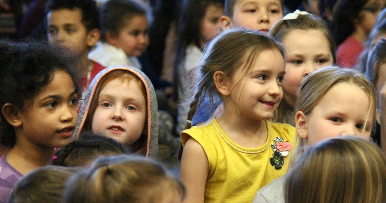 Children at an assembly.