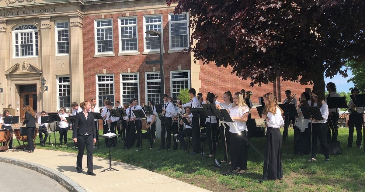 HS Band playing at Churchville Elementary School