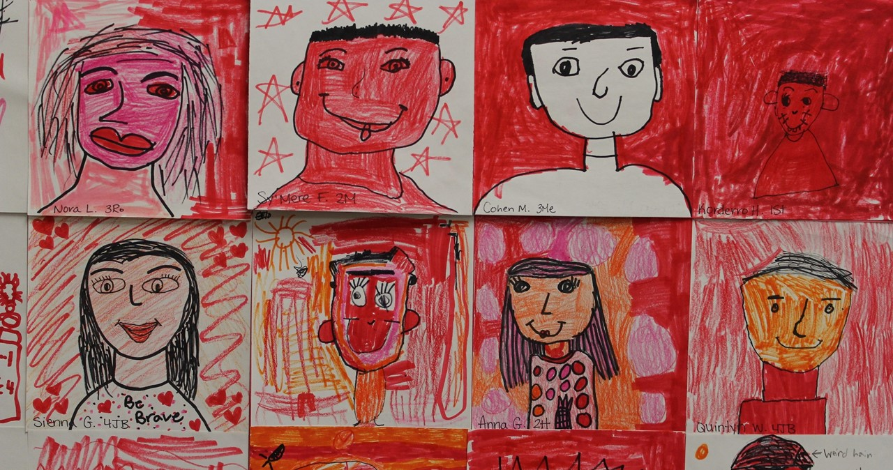 A collection of self-portraits in red