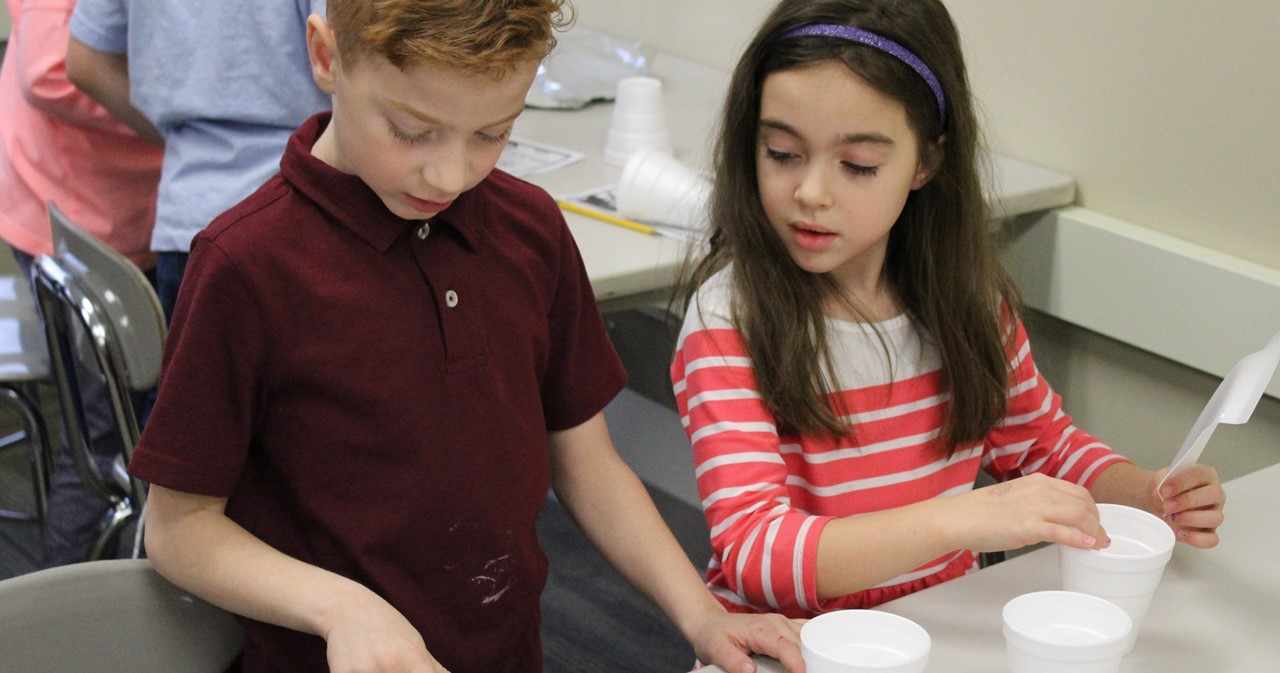 Two second-grade lab partners