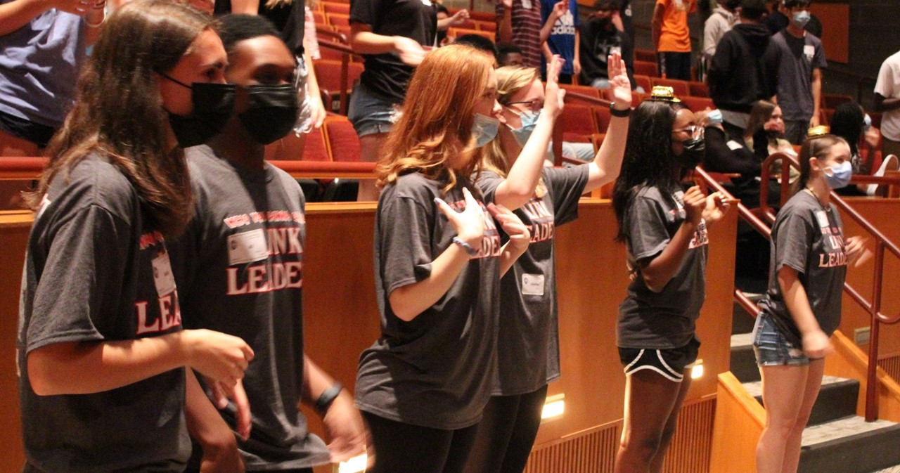 Link Leaders at the freshman orientation