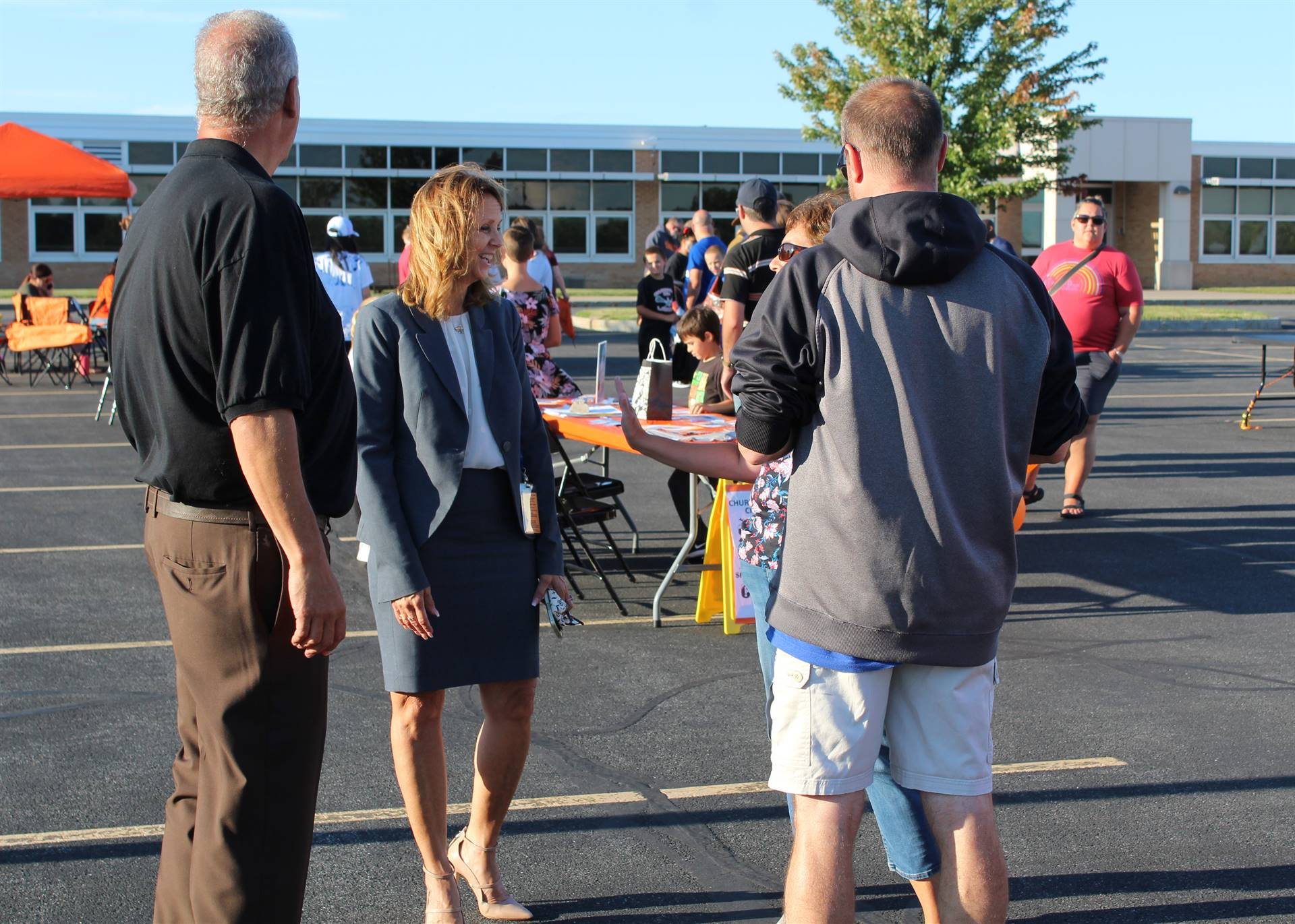 C-CSD Superintendent speaking with family