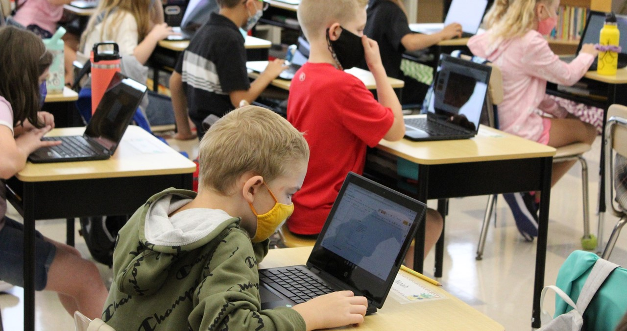 Class working on their laptops