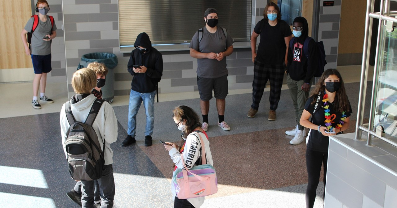 HS students in the lobby