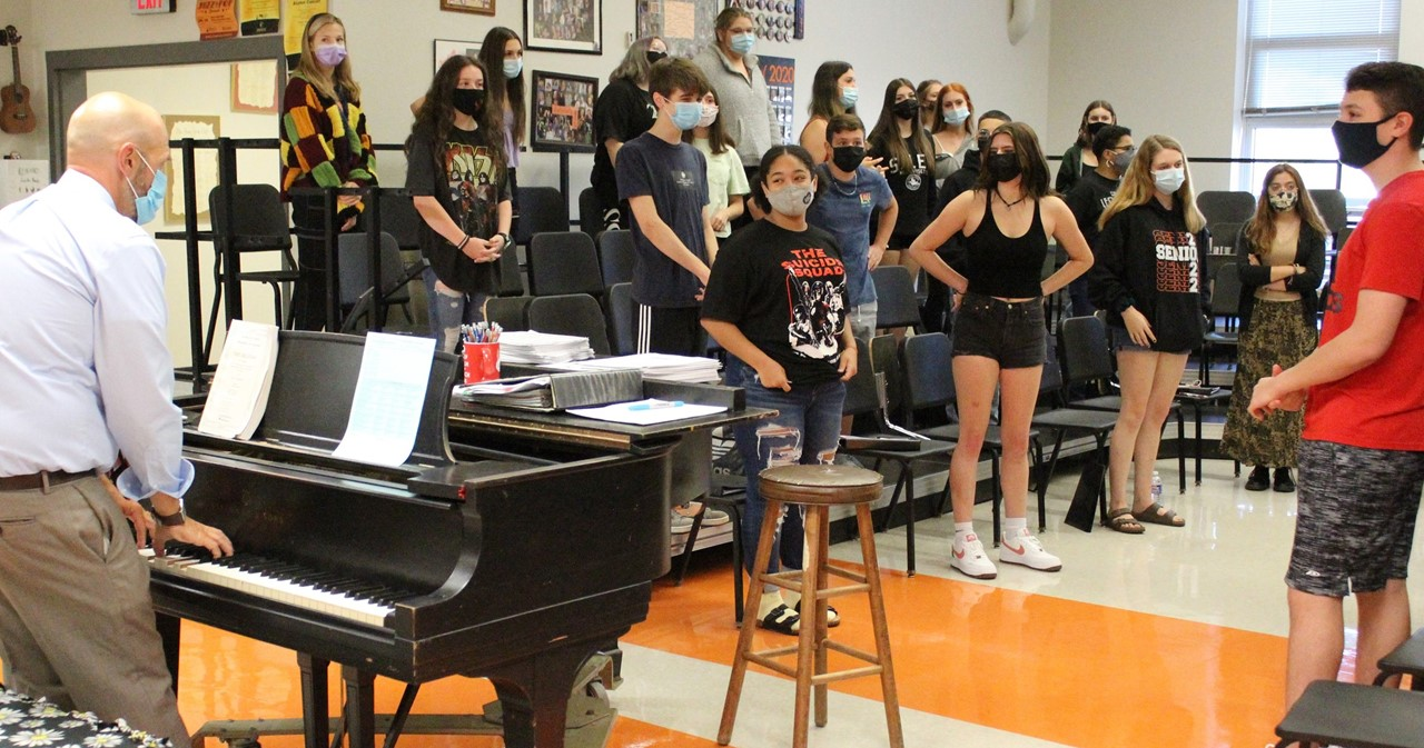 Vocal student group practicing