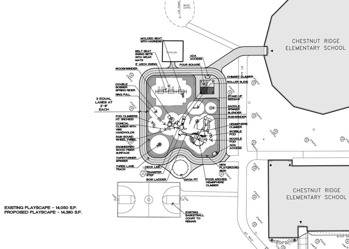A map of the proposed playground at CRS.
