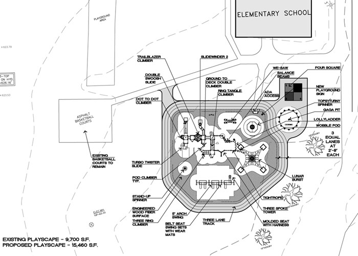A map of the proposed playground at FRS.