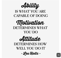 picture of motivational saying. Ability, is what youre capable of doing, Motivation, determines what you do, Attitude determines how well you do it.